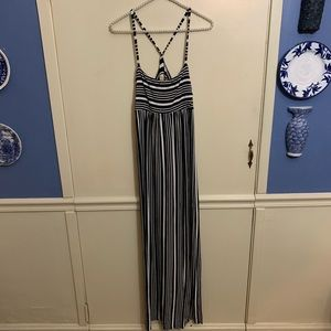 NWT Chaser Striped T Back Ruched Maxi Dress Sz Sm
